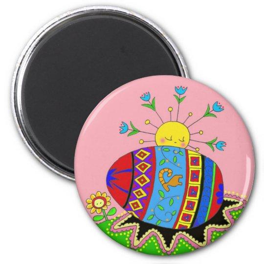 Pysanka and Sun Ukrainian Folk Art Magnet