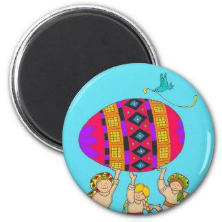 Pysanka Girls 2 Inch Round Magnet