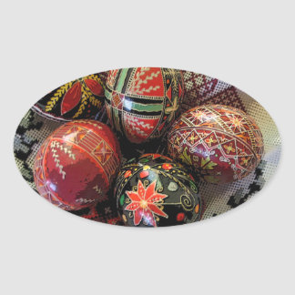 Pysanka on a Pussy Willow Cloth Oval Sticker