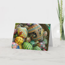 Pysanky Easter Eggs Card - This beautiful Easter card cover is the art of Psyanky. Inside the cover tells about the centuries old tradion. While on the bottom inside are your Easter wishes.