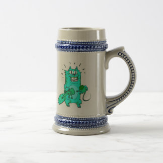 pyscho cat and unfortunate mouse funny cartoon, beer stein
