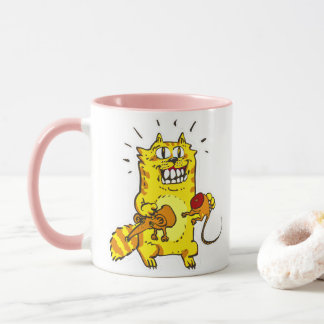 pyscho cat and unfortunate mouse funny cartoon mug