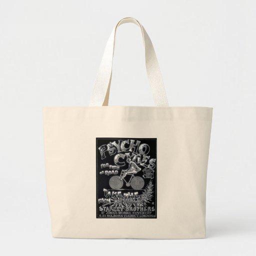 Pyscho Cycles - Vintage Bike Advertisement Canvas Bags