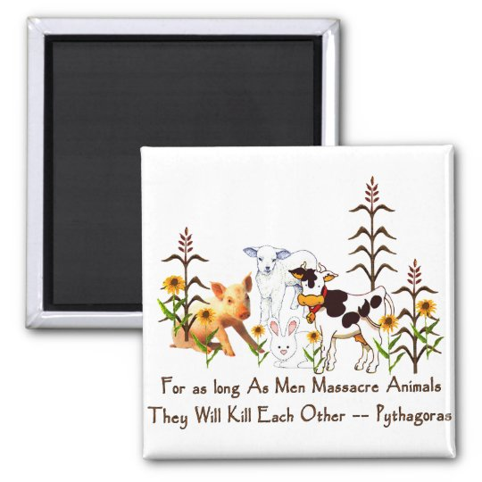 Pythagoras Vegetarian quote 2 Inch Square Magnet