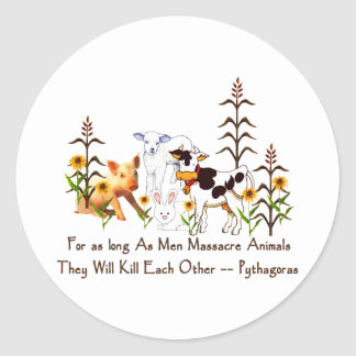 Pythagoras Vegetarian quote Classic Round Sticker