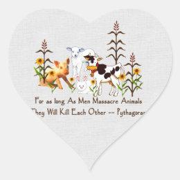 Pythagoras Vegetarian quote Heart Sticker