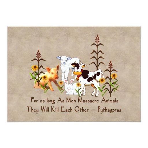 Pythagoras Vegetarian quote 5x7 Paper Invitation Card