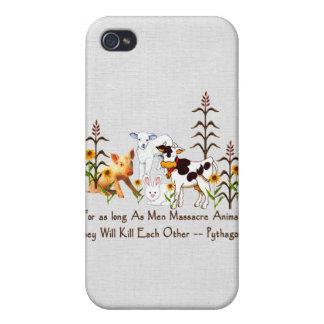 Pythagoras Vegetarian quote Cases For iPhone 4