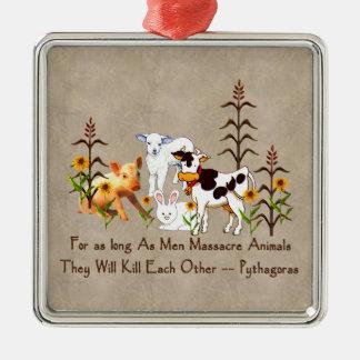 Pythagoras Vegetarian quote Metal Ornament