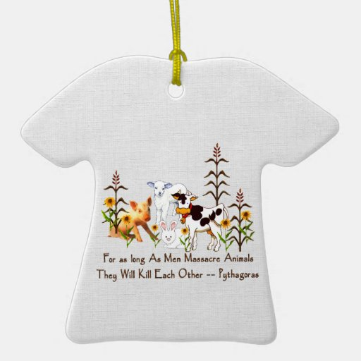 Pythagoras Vegetarian quote Double-Sided T-Shirt Ceramic Christmas Ornament