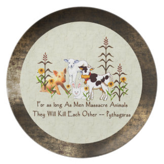 Pythagoras Vegetarian quote Party Plates