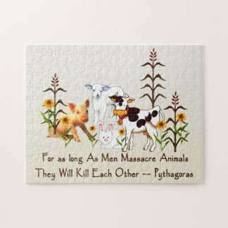 Pythagoras Vegetarian quote Jigsaw Puzzle