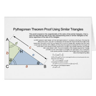 Pythagorean Theorem Proof Using Similar Triangles Greeting Card