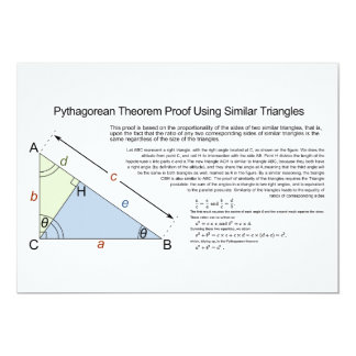 Pythagorean Theorem Proof Using Similar Triangles 5x7 Paper Invitation Card