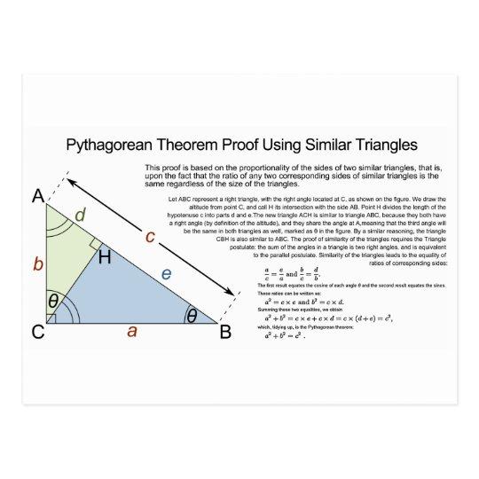 Pythagorean Theorem Proof Using Similar Triangles Postcard