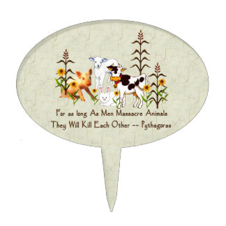 Pythagorus Vegetarian Quote Oval Cake Pick