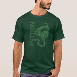 Python skeleton, coiled snake ready to strike T-Shirt