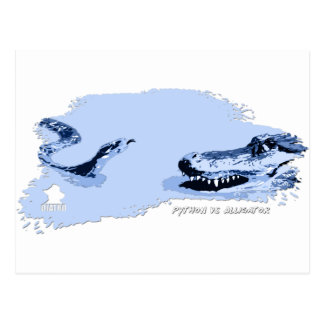 Python vs Alligator Blue 01 Postcard