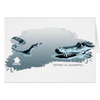 Python vs Alligator blue 02 Greeting Card