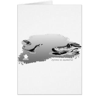 Python vs Alligator grey 01 Greeting Card