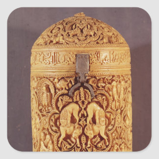Pyx with a relief depicting the pleasures square sticker