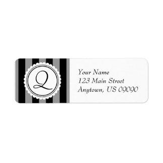 Q Candy Striper Monogram Address Labels (Black)