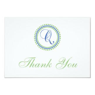 Q Dot Circle Monogam Thank You Cards (Blue / Mint)