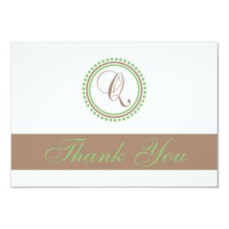 Q Dot Circle Monogam Thank You Cards (Brown/Mint)