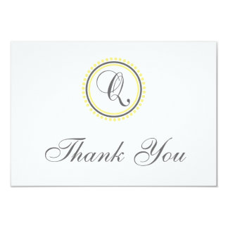 Q Dot Circle Monogam Thank You Cards (Yellow/Gray)