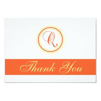 Q Dot Circle Monogam Thank You (Orange / Yellow) Card