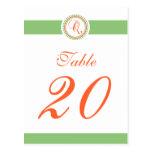 Q Dot Circle Monogram Table Number (Mint / Orange) Post Card