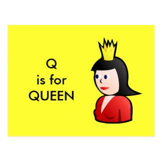 """""""Q"""" está para el alfabeto Flashcard de la reina Tarjetas Postales"""