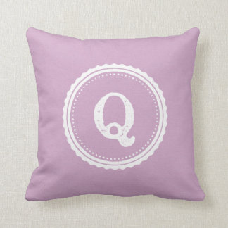 Q Initial, White Monogram Pillow radiant  orchid