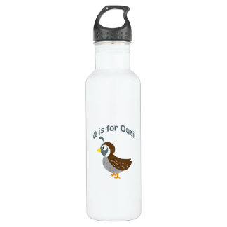 Q is for Quail Stainless Steel Water Bottle