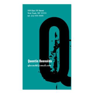 Q Letter Alphabet Business Card Blue