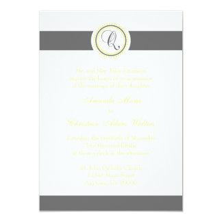 Q Monogram Dot Circle Wedding Invitations (Gray)