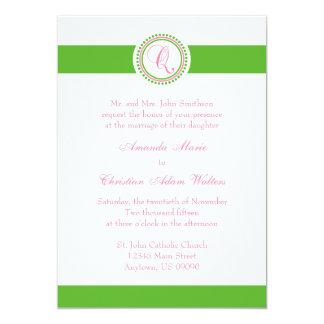 Q Monogram Dot Circle Wedding Invitations (Green)