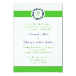 Q Monogram Dot Circle Wedding Invitations (Lime)