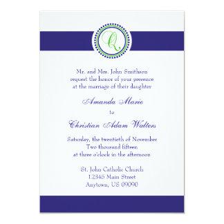 Q Monogram Dot Circle Wedding Invitations (Navy)