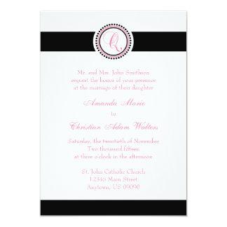 Q Monogram Dot Circle Wedding Invitations (Pink)