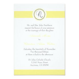 Q Monogram Dot Circle Wedding Invitations (Yellow)