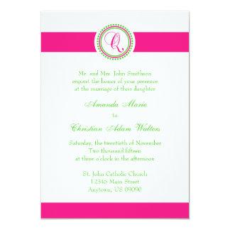 Q Monogram Dot Circle Wedding Invite (Pink / Lime)