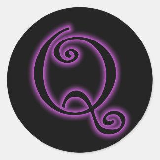 Q Monogram Purple Neon Stickers