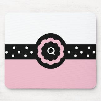 Q :: Monogram Q Dotted Pink & White Mousepad