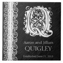 "Q Monogram ""White Lace on Black"" Wedding  Tile"