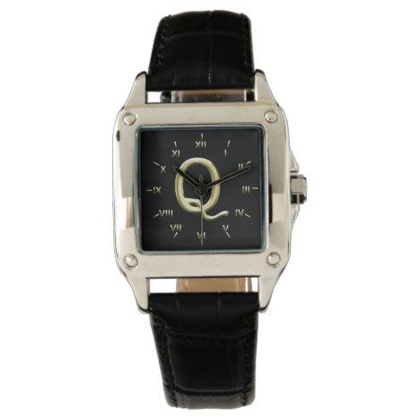 Q Monogrammed with Roman Numerals Wrist Watch