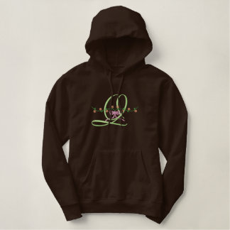 """Q"" Ribbon Alphabet Embroidered Hoodie"