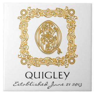 """Q"" Surname Wedding Anniversary Day Monogram Tile"