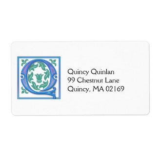 Q Vintage Initial - Monogram Label