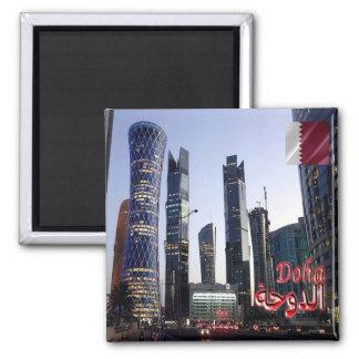 QA - Qatar - Doha - Tornado & Palm Tower 2 Inch Square Magnet